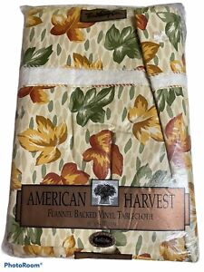 town &country linen vintage vinyl table cloth fall leaves brown green gold