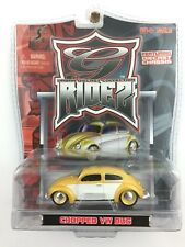 Maisto G Ridez Chopped Volkswagen VW Bug Beetle Yellow Die Cast 1/64 Rubber Tire