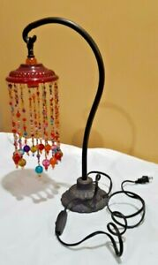 Iron Base Moroccan Vintage Style Swan Neck Table Lamp Light with Beaded Hangings