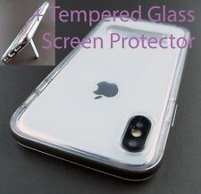 CLEAR BACK CHROME BUMPER HYBRID TPU CASE COVER KICKSTAND APPLE IPHONE X