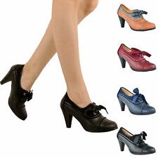 4ac3d0485b Women Classic Retro Two Tone Wing Tip Cut-Out Lace up Kitten Heel Mary Jane