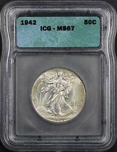 1942 Walking Liberty Silver Half Dollar ICG MS-67