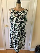CHAPS Navy Green White Floral Cotton Blend Sheath Casual Career Size 16