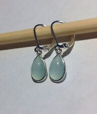 925 Sterling Silver Pear Cab Natural Aqua Chalcedony Lever Back Earrings 2.60CTW
