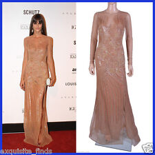 $19,345 New VERSACE Fully Embroidered Nude Tulle Gown 44