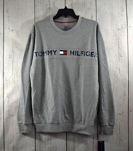Men's Tommy Hilfiger Gray MEDIUM Sleepwear Shirt Pullover Flag Logo NWT