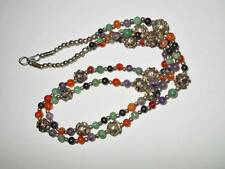 VINTAGE ASIAN EXPORT AMETHYST CARNELIAN AGATE & ORNATE TOOLED BEAD NECKLACE 70g
