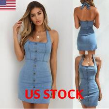 Sexy Ladies Womens Bodycon Denim Button Sleeveless Backless Mini Dress Summer US