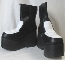 Nyla Vintage Extra Tall Heels 1980'S Shoes Black And White Leather Zippered