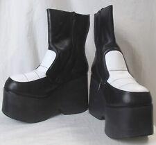 Nyla Vintage Platform Boot Shoe Size 9B 1980'S Black And White Leather Zippered