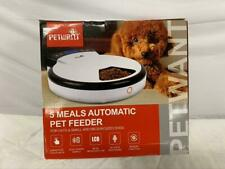 New 5 Meals Automatic Pet Feeder PF-105 Plastic White PetWant Cats Dogs