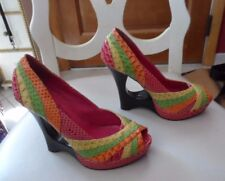 "Nadara Women Shoes Sz 6 Multicolored Unique ""Opened-Hole"" Wedge Heel Peep Toe"