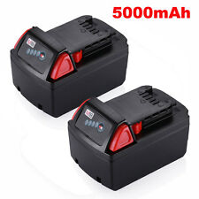 2 Pack 18V Red Lithium ion XC 5.0 amp Battery For Milwaukee M18 48-11-1850 Tool