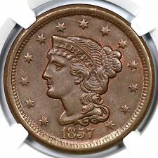 1857 N-4 NGC MS 63 BN Small Date Braided Hair Large Cent Coin 1c