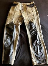 1970'S -VINTAGE- LEATHER DETAIL HEAVY METAL HARD ROCK STAR JEANS SERGIO VALENTE