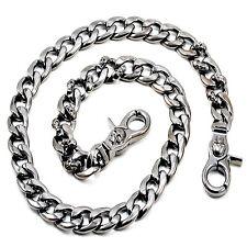 """DK Strong Skull Spike Trucker Biker Key Jean Wallet Chain (27.5"""") Black CS145"""