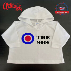 White Baby Hoody-The Mods-Mod Baby Clothes-Mod Baby Hoody-Mod Baby Clothing