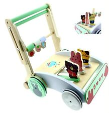 RB&G Lauflernwagen aus Holz mit Gummibereifung, Bremse und Höhenverstellung