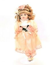 """16"""" Porcelain Doll Vintage Bk Victorian Rose Collection 1999 with tag and Stand"""
