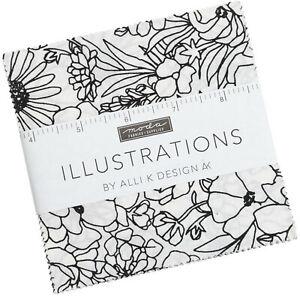 "Illustrations Moda Charm Pack 42 100% Cotton 5"" Precut Fabric Quilt Squares"