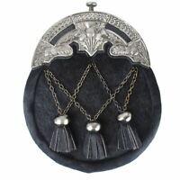 Traditional Scottish Full dress Antique Thistle Mantle Kilt Sporran & Chain Belt