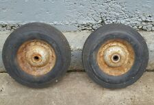 """2 - 10"""" Steel Hub Hard Rubber Ribbed Tread, 2 ¼"""" shaft 5/8"""" Bore Centered Tires"""