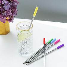 Yellow Stainless Steel Long Straws Reusable Metal With Silicone Sleeve Tips 1PC