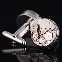1Pair Vintage Mens Cufflinks Watch Movement Cuff Links Wedding Silver SteampunME