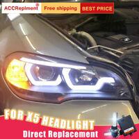 Pour BMW X5 montage E70 phares Bi-xenon lentille projecteur LED DRL 2007-2013