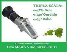 Rifrattometro Uva Vino Mosto Birra Tre Scale ATC, Refractometer Wine Beer
