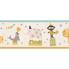 CIRCUS ANIMALS NURSERY CHILDRENS KIDS BOYS GIRLS WALLPAPER BORDER RASCH 245417