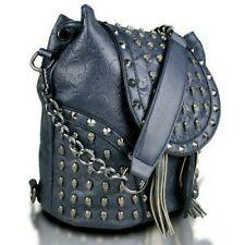 Miss Lulu Skull Studded Backpack Shoulder Bag, Colour Navy