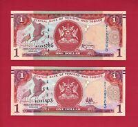 TRINIDAD & TOBAGO 1 DOLLAR 2006 UNC 2006-2009 (P-46A) & 2006-2018 (P-46Ab) NOTES