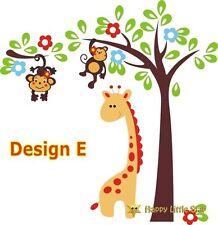 Large-giraffe-cute monkey-tree-flower-nursery-kids-wall-sticker-decal