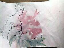 Original watercolor pencil drawing of a seated female nude flowered background