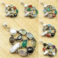 MULTI COLOR, MULTI STONES ! Natural Gemstones Pendant, 925 Silver Plated Jewelry