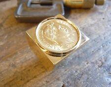 Chevalière or carré douille intérieure pièce de 20 Francs Napoléon tête laurée