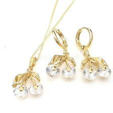 Women New 14K Yellow Gold Plated CZ Cubic Cherry Xmas Drop Earrings necklace set