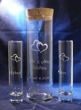 3 pc Unity Sand Ceremony Set, Engraved 10.5 x 3.25 Glass Vase, Hearts, Cork Lid