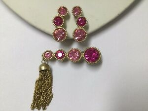VINTAGE HIGH END SARAH COVENTRY SAUCY PINK RHINESTONE PIN & EARRINGS SET ESTATE