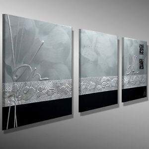 MALEREI ART KUNST Original HANDGEMALT 120x40 BILDER SILBER SCHWARZ 3D C. GOETHE