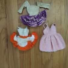Lot Of 3  Crochet Barbie Doll Dresses Hand Made With Snaps