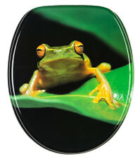 SOFT CLOSE PRINTED WC TOILET SEAT | STABLE HINGES | SLOW CLOSE | GREEN FROG
