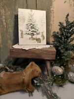 PRIMITIVE VICTORIAN VINTAGE CHRISTMAS XMAS BUNNIES GREETING TREE JOY  CANVAS