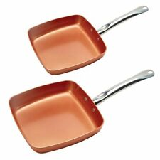 "Copper Chef 9.5"" & XL 11"" in Square Nonstick Ceramic Fry Pan 2-Pack NO SALES TAX"