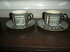 MIKASA POTTERS CRAFT FIRESONG SET OF 2 CUPS AND SAUCERS PATTERN HP300