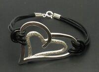 Sterling Silber Armband Herz mit echtem Leder massiv punziert 925 handgefertigt