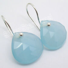 925 Sterling Silver Rare CUT CHALCEDONY HANDCRAFTED BIG HEART Earrings 1 Inch
