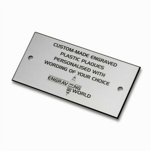 76mm x 51mm Personalised Engraving Engraved Plastic Plaque Sign (Silver/Black)