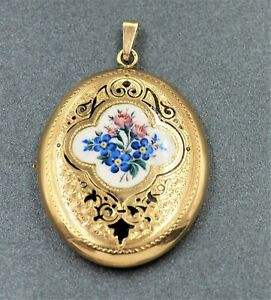 Womens 9ct Gold Hand Engraved Enamel Opening Locket Pendant Vintage Jewelley
